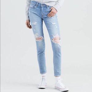 Levi's 711 Light Wash Distressed Skinny Jeans